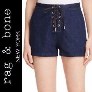 { Rag & Bone } Lace-Up Resin Denim Shorts
